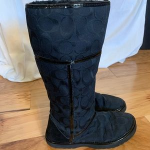 Coach nikole jacquard and patent shearling boots 6
